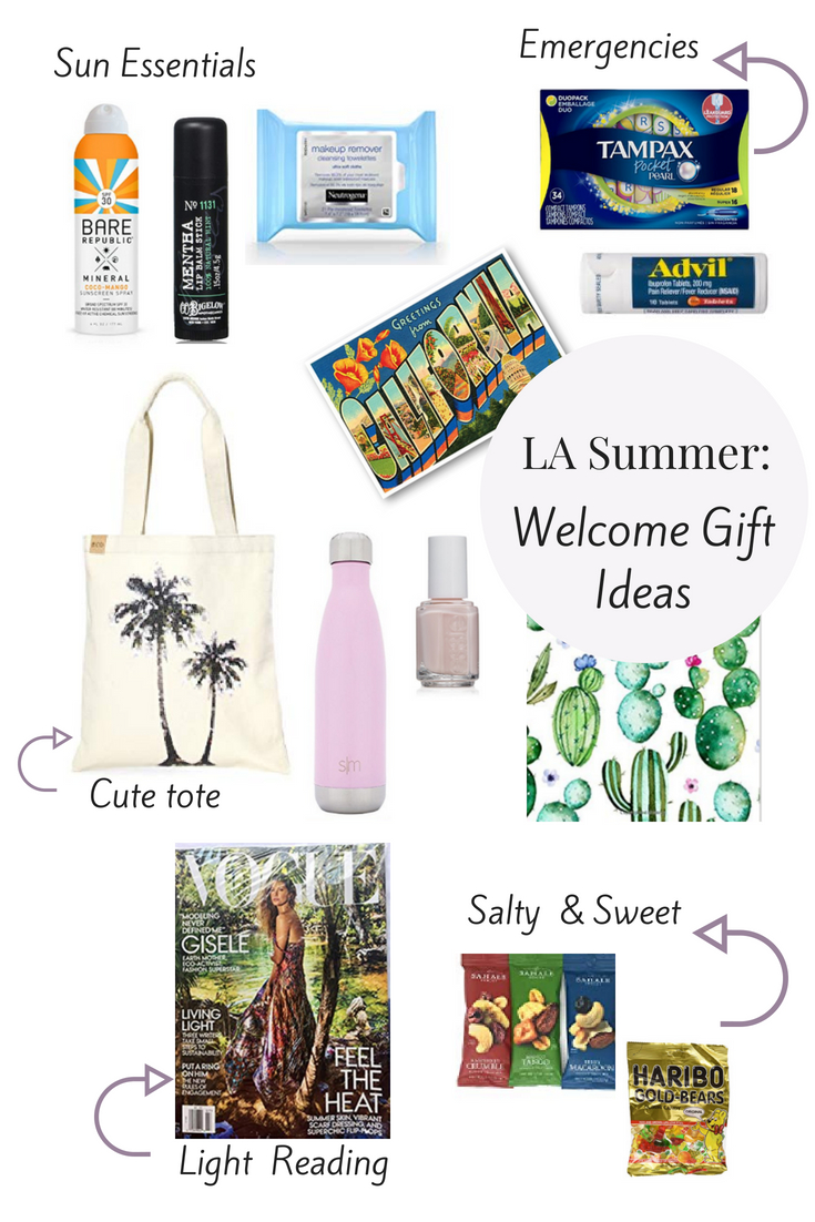 LA Summer Welcome Gift Ideas for Out of town guests. Craft the perfect welcome gift for overnight guests using essentials to include in a welcome gift for overnight guests to make them feel at home and make their trip more meaningful.  From the best sunscreen to the best compartes chocolate to salty and sweet snack ideas to a palm tree tote to tie it all together.